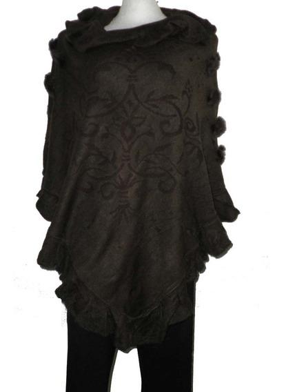 Capa Desigual Pompones Chal Abrigo Poncho De Moda