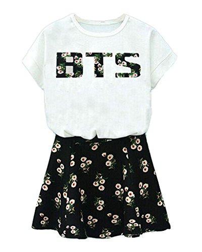Conjunto De Camiseta De Bts Y Falda De Flores