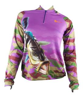 Camisa De Pesca Feminina Fps Uv50+ Kaa08 + Tube De Brinde