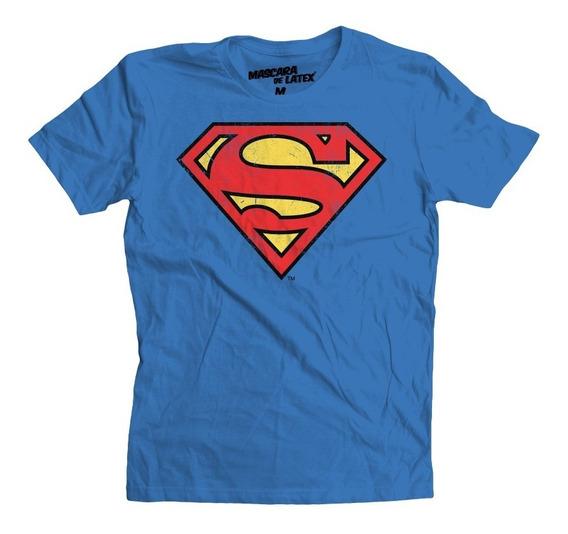 Playera Superman Logo Dc Comics Mascara De Latex
