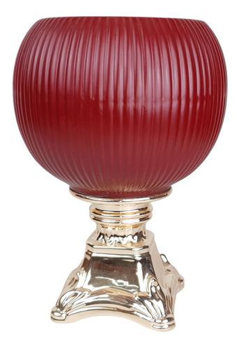 Vaso G Vinho Com Pé Dourado   24 Larg X 28 Alt