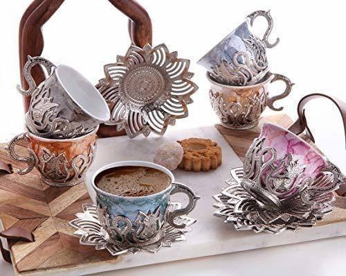 Juego De 6 Tazas De Café Turco De Porcelana De Lujo Y Platil