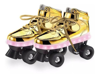 Patins 4 Rodas Infantil Com Led Dourado 35/36 Roller Fun