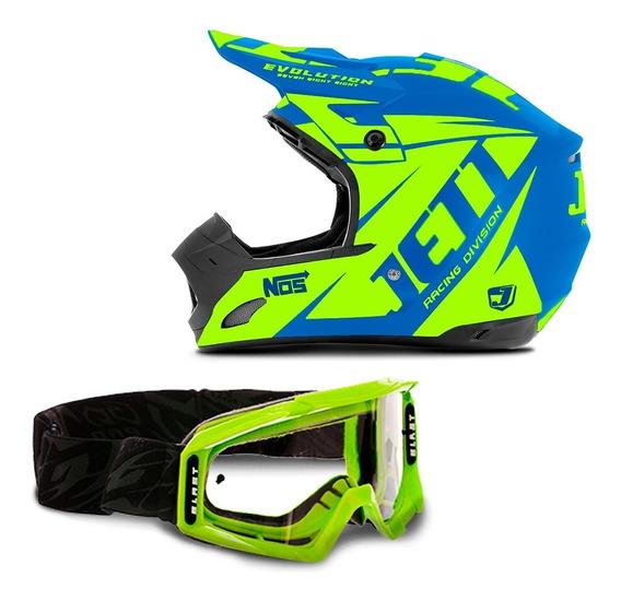 Capacete Motocross Trilha Jett Evolution + Óculos Pro Tork