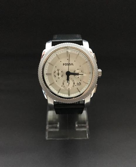 Relógio Fossil Com Cronógrafo Pulseira De Couro Preto