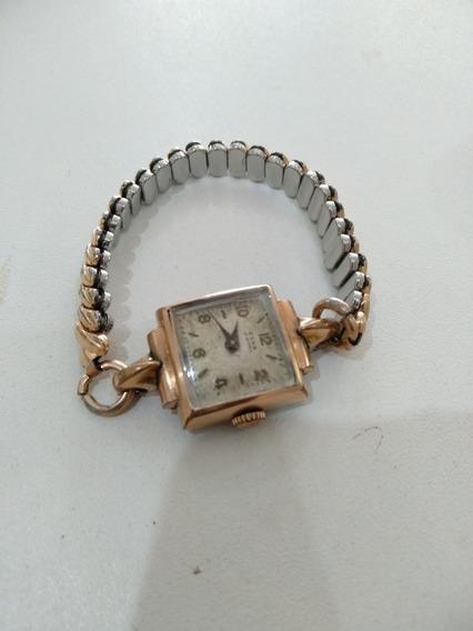 Relógio Eska Antigo Em Plaquê Ouro A Corda Funcionando