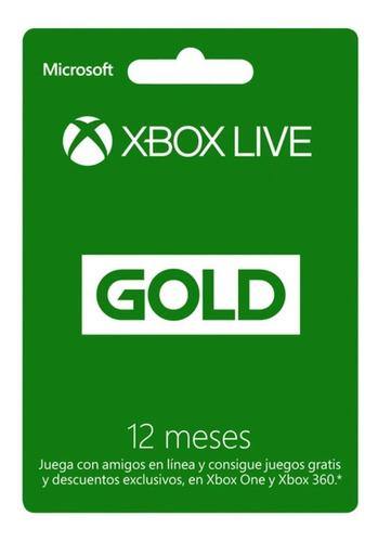 Imagen 1 de 2 de Tarjeta De Regalo Xbox Live Gold De 12 Meses (en D3 Gamers)