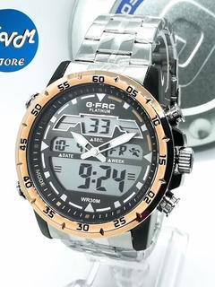 Reloj G-force Platinum Original,doble Hora, Acero Inoxidable