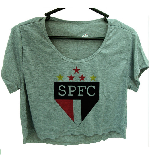 Blusa Cropped Sao Paulo Feminina Camiseta Manga Cinza