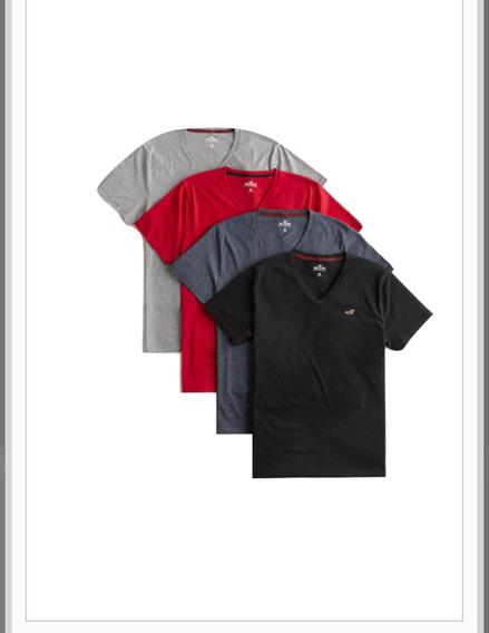 Camiseta Masculina Hollister Original 100% Algodão Gola V 04