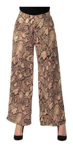 Pantalon Dama Ancho Animal Print Serpiente Amplio Flojo