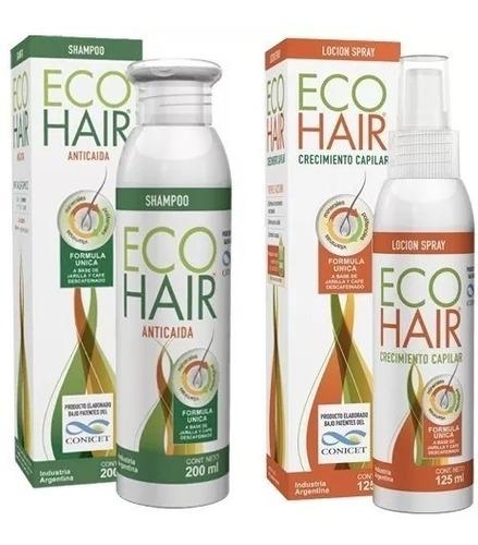 Imagen 1 de 10 de Eco Hair Combo Anticaida Crec Cabello Locion+shampoo Ecohair