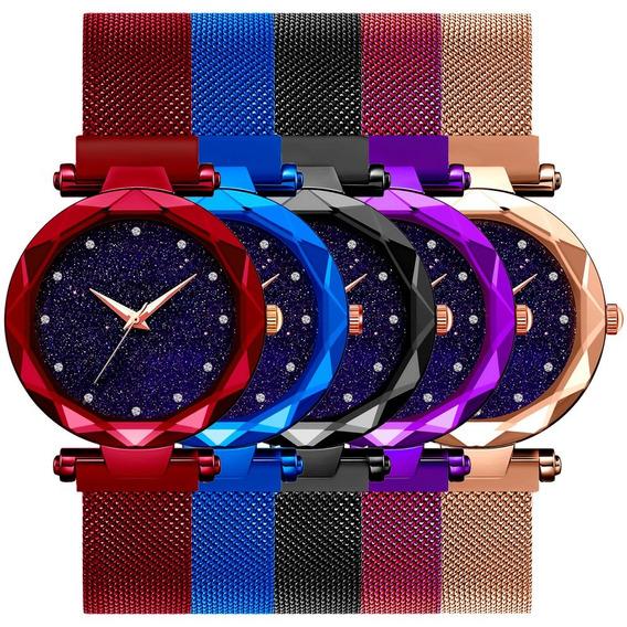 Relógio Feminino Universo Ímã Malha Aço Pulseira Magnét