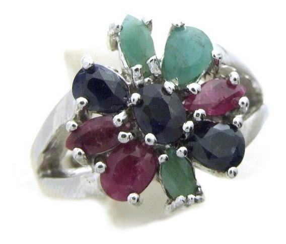 Anel Em Prata Com Pedras Safiras, Esmeraldas E Rubi Aro 17