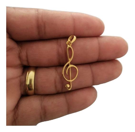 Pingente Nota Musical Banhado A Ouro Com Nota Fiscal R008