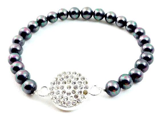 Bashari Pulsera Bisutería Fina Shiny Button Bracelet - Gris