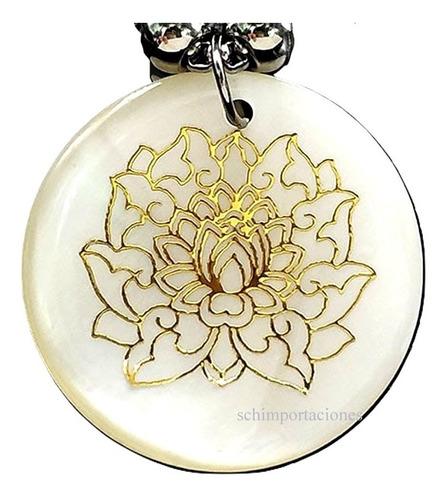 Imagen 1 de 3 de Nuevo Colgante Flor De Loto Blanca Mandala, Premium Budismo