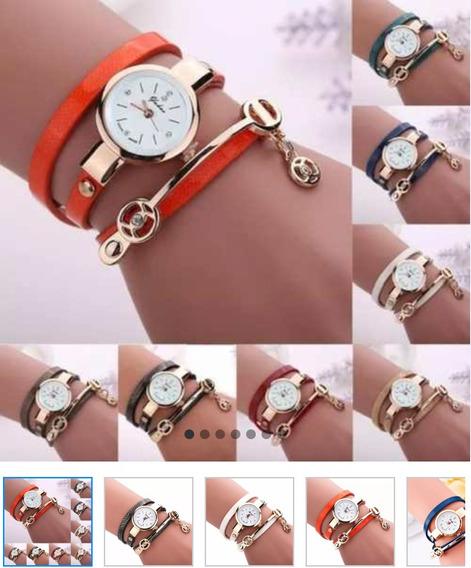 Relógio Bracelete Dourado Pulseira De Couro