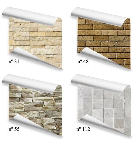 Papel De Parede Varios Modelos Pedras Tijolos 2,50 X 0,58 Cm