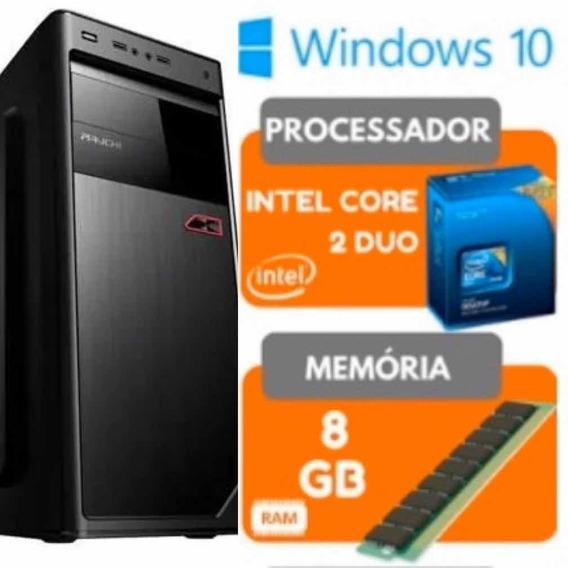 Computador Só Cpu Core2duo 8g Hd 500Windows 10 Pro Wi-fi