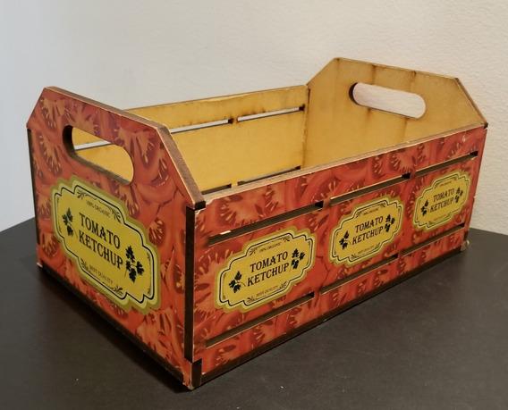 Caixa Artesanal Retrô Em Mdf Ketchup - Porta Treco