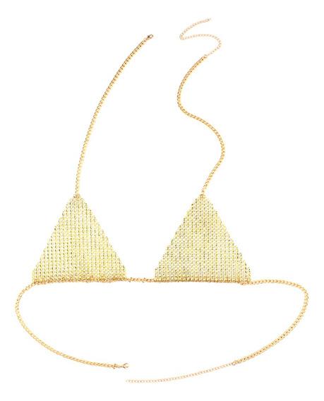 Full Glitter Sequin Rhinestone Bra Triangle Bikini Choker Ne