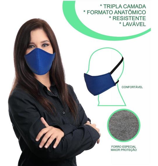 Máscara Confortável Lavável Tripla Proteção Elástico Cabeça