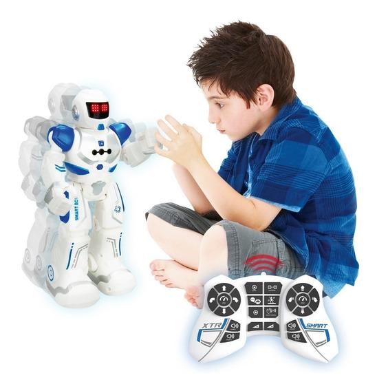Robô Inteligente Com Controle Remoto 80 Funções Luz E Som