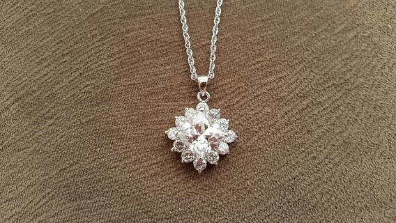 Colar 45cm Diamante Quartz Ouro Branco