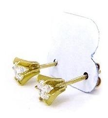 Anel Em Ouro 10k 416 Solitário 4mm, Pingente E Brincos