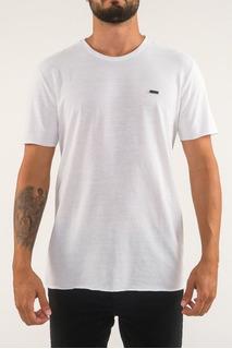 Camiseta Básica Corte A Fio E Pesponto Azul