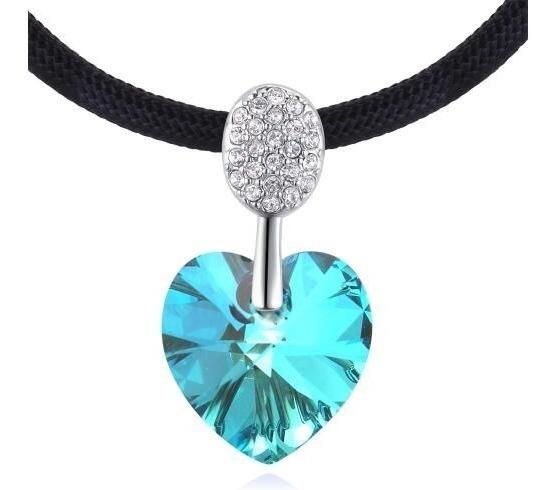 Collar Con Cristales Ocean Heart Oh18-156-baño De Oro