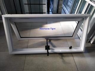 Ventana Banderola Aluminio Blanco 200x60 Con Brazo Empuje