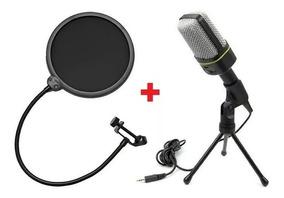 Microfone Condensador Sf-920 + Pop Filter Cabo Tripe Studio