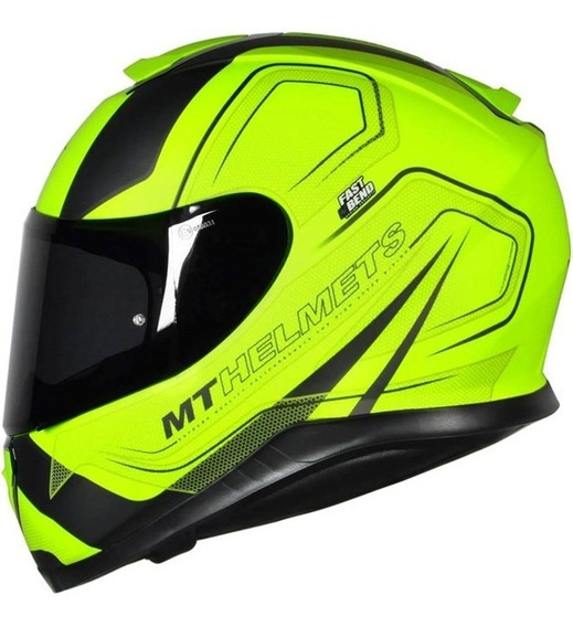 Capacete Moto Mt Thunder 3 Trace Amarelo + Viseira Fumê