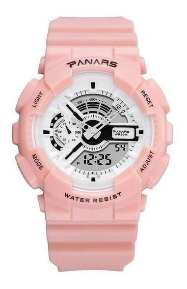 Relógio Masculino Feminino Panars 8125 S-shock Esporte Rosa
