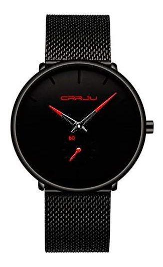 Crrju Reloj Metálico Hombre Elegante, Minimalista (n/rojo)