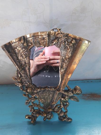 Porta Retrato Ou Espelho Em Bronze Antigo Em Leque