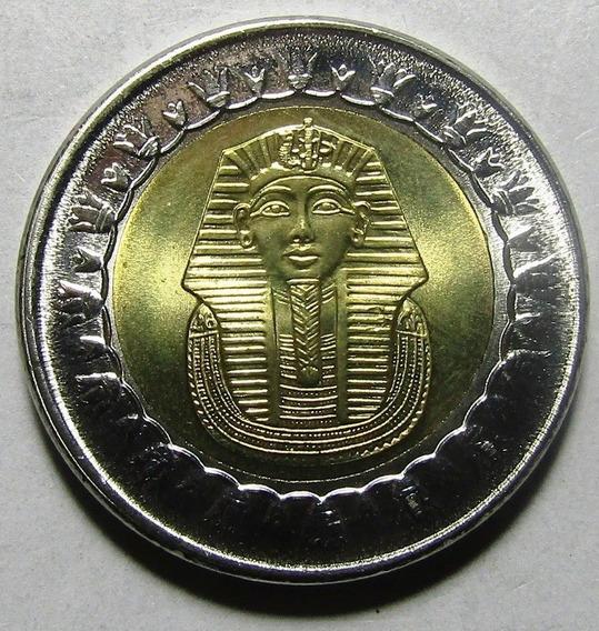 Egipto Moneda Bimetalica Tutankhamon 1 Pound 2005 Unc