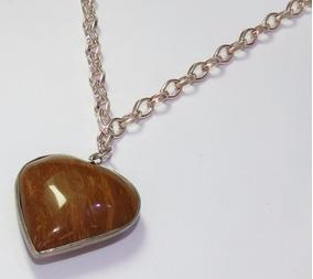 Colar Folheado Em Prata Com Pingente Pedra Natural Coração