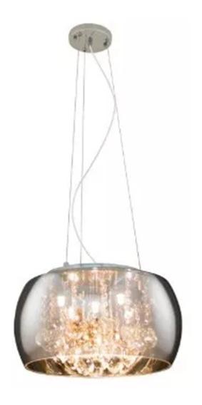 Lustre Pendente Plafon 50cm Cristal Sidney/soho Cromado 6 G9