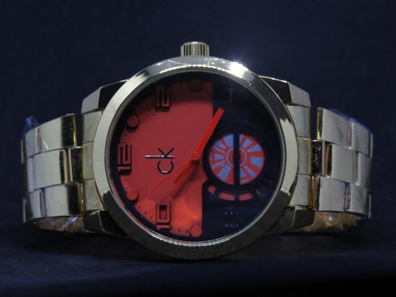 Relógio Dourado Barato Grande Masculino Top + Caixa + Brinde