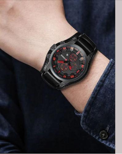 Relógio Masculino Original Couro 8225 Luxo Com Garantia