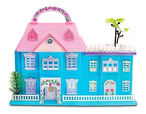 Casa De Muñecas Transportable Con Accesorios Y Figuras Nena