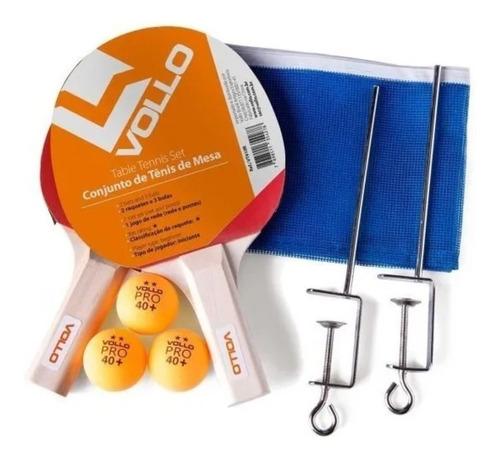 Imagem 1 de 2 de Kit Ping Pong Vollo C/ Rede 2 Raquetes 3 Bolas Tenis De Mesa