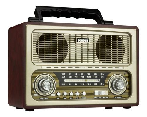 Caixa De Som E Rádioecobaz -1817bt Retrô Marrom Rádio Am/fm/