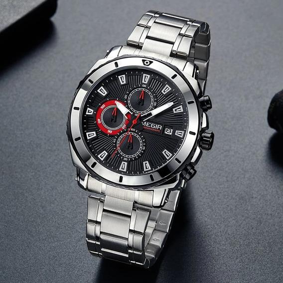 Relógio De Quartzo De Luxo Megir De Aço Inoxidável