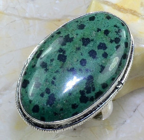 Anel Aro 19 Prata Indiana Pedra Zoisite Natural