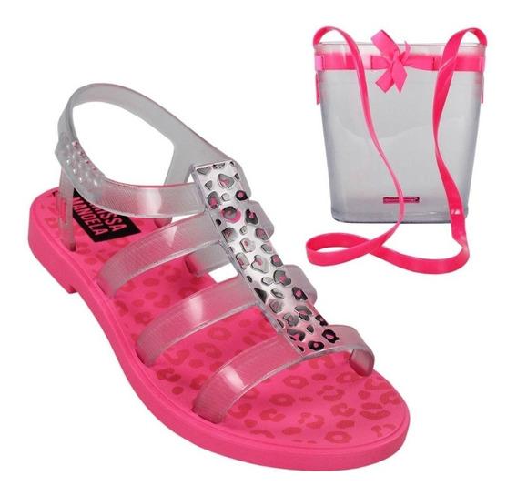 Sandalia Larissa Manoela Trend Bag Rosa Neon/vidro Original