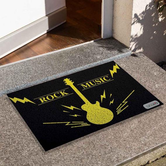 Tapete Capacho Porta Apto - Rock Music Preto